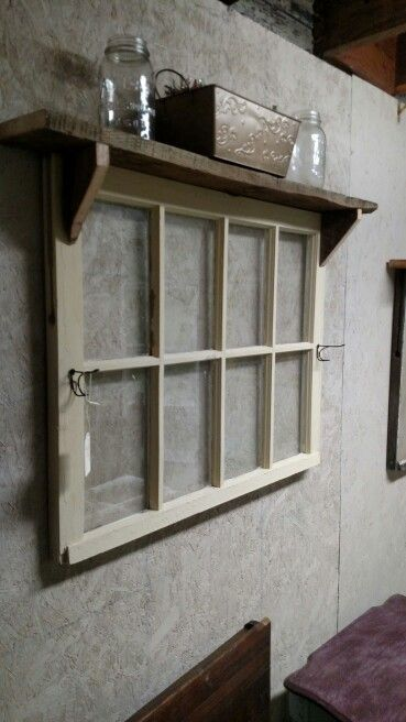 8 Pane Window With Hooks And Shelf Simple Bathroom Remodel Old Window Panes Bathroom Remodel Pictures