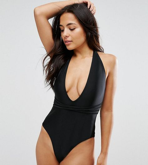fb506ac9f460a Wolf & Whistle Deep Plunge Swimsuit With Cross Straps B-F Cup - Black