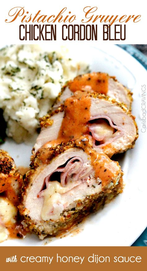 Pistachio Crusted Gruyere Chicken Cordon Bleu with 5 minute Creamy Honey Dijon Sauce - the BEST chicken cordon bleu and so much easier than you think! Fancy enough for company easy enough for everyday. #chickencordonbleu #honeydijon #crustedchicken #companymeals