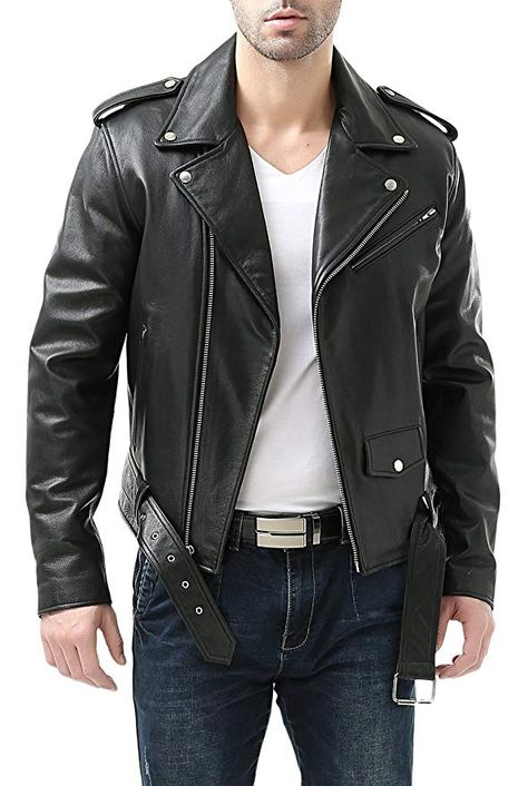 Affiliate] BGSD Men's Classic Cowhide Leather Motorcycle