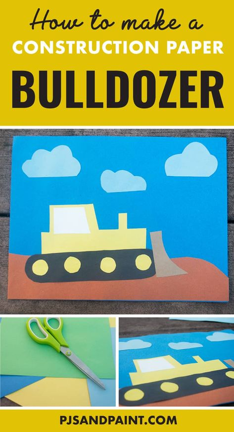 How to make a construction paper bulldozer craft, kindergarten crafts, preschool crafts Easy Art For Kids, Summer Crafts For Kids, Crafts For Boys, Paper Crafts For Kids, Toddler Crafts, Fall Crafts, Construction Theme Classroom, Construction Paper Crafts, Construction For Kids