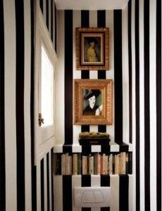 Black And White Striped Bathroom. Did This In My Biggest Bathroom But  Painted Brown Stripes Between The Black Ones.had To Paint Them Out.