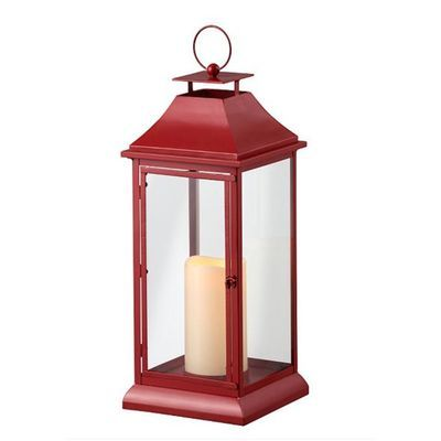 Large Outdoor Red Lantern With Led Candle Remote Wooden Lanterns Patio Lanterns Large Lanterns