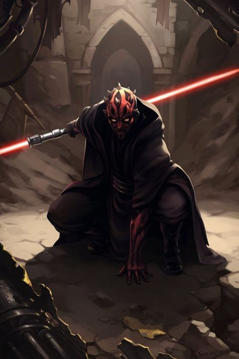 Star Wars: The Phantom Menace - Sith Lord Darth Maul Star Wars Jedi, Star Wars Film, Star Wars Poster, Darth Maul Clone Wars, Darth Maul Comic, Darth Maul Lightsaber, Red Lightsaber, Star Trek, Star Wars Fan Art