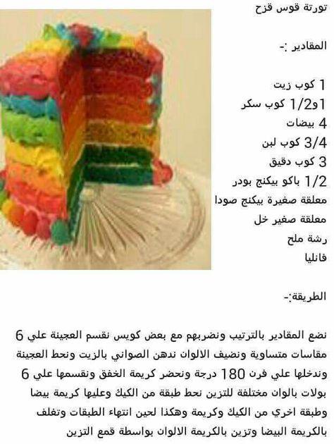 كيكة قوس قزح Recipe Organization Recipes Cake