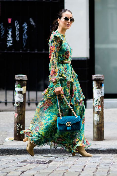 Bohemian style type street style, floral dress with turqouise gucci velvet bag, New York Fashion Week