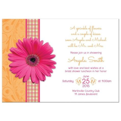 Pink gerber daisy and orange plaid ribbon country bridal shower invitation. Hot pink gerbera daisies make a great flower choice for a country, cottage or outdoor bridal shower. In this case it's paired with bright orange and a plaid ribbon. Sunny...