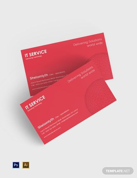 It Service Business Card Template Psd Illustrator Business Card Template Psd Business Card Template Free Business Card Templates