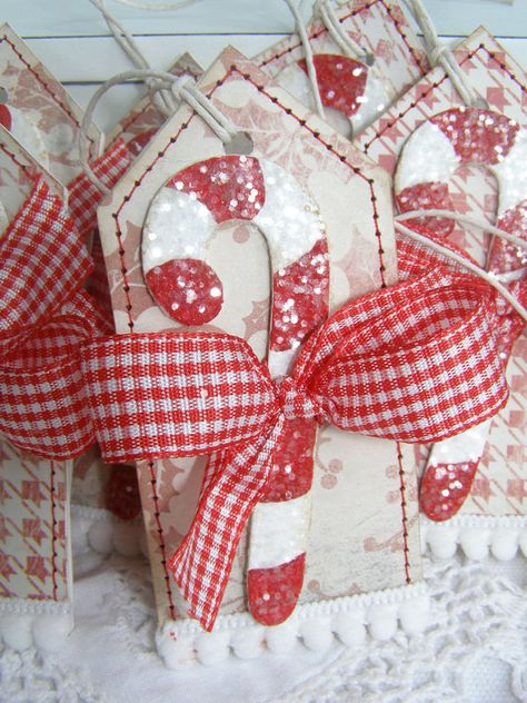 SALE Candy Cane Christmas Holiday Gift Tags by PaperBistro on Etsy