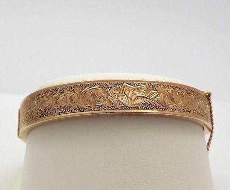 Victorian Hand Engraved Floral Birds Design 14k 10k Gold Bangle Bracelet Gold Bangles Gold Bangle Bracelet Bangles