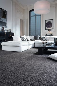 Image Result For Seating Area Gray Walls Charcoal Carpet Grey Carpet Living Room White Living Room Decor Black And White Living Room Decor
