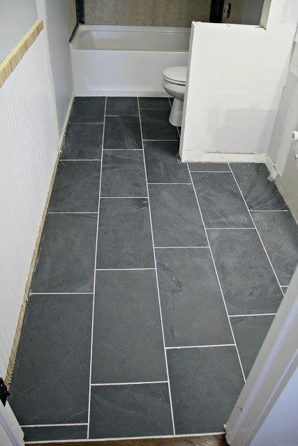 How To Tile A Bathroom Floor With Large Slate 12x24 Tiles
