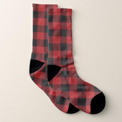 Black Amp Red Buffalo Plaid Checkered Checker Square Socks Rustic Gifts Ideas Customize Personalize Plaid Decor Buffalo Plaid Black And Red