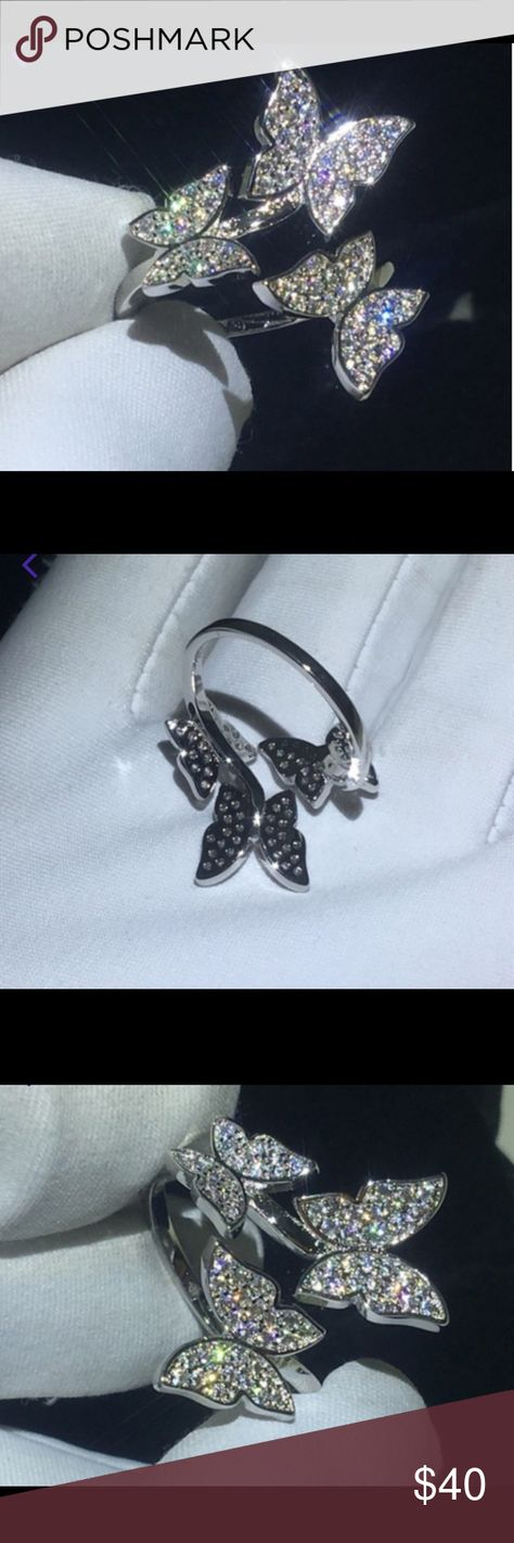 14k white gold filled adjustable butterfly ring Stamped description in picture 5 Jewelry Rings