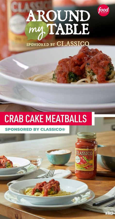 Turn crab cakes into little meatballs then simmer them in a spicy tomato sauce. 😍 Sponsored by Classico®.
