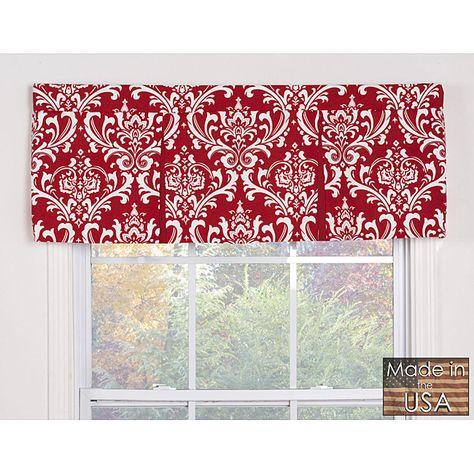Red & White Damask Window Kitchen Valance