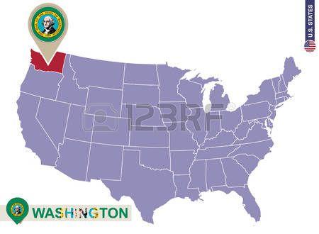 Estado De Washington En El Mapa De Los EEUU Bandera Y Mapa De - Mapa de usa