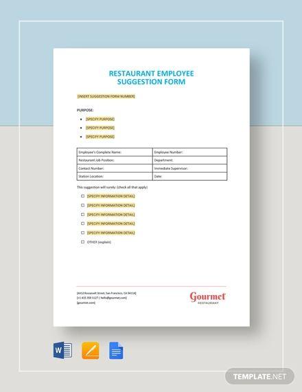 Restaurant Employee Suggestion Form Suggestion Employee