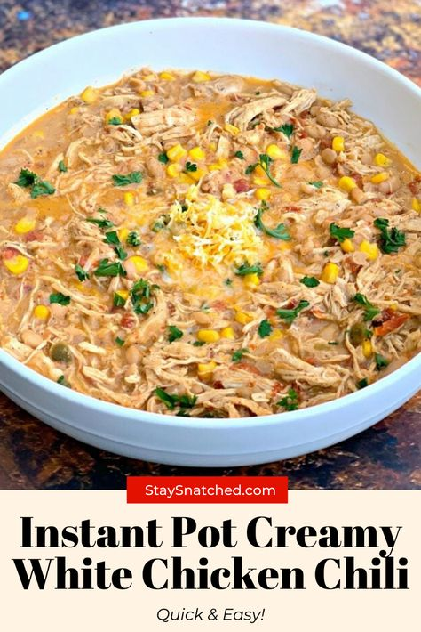 Easy, Instant Pot Creamy White Chicken Chili is the best, quick pressure cooker recipe with white beans and cream cheese Creamy White Chicken Chili, Crockpot White Chicken Chili, White Chicken Chili Recipe With Salsa, Chicken Chili Verde, Cream Cheese Chicken Chili, Chili Instant Pot Recipe, Instant Pot Dinner Recipes, Chicken Instant Pot Recipe, Frozen Chicken Recipes
