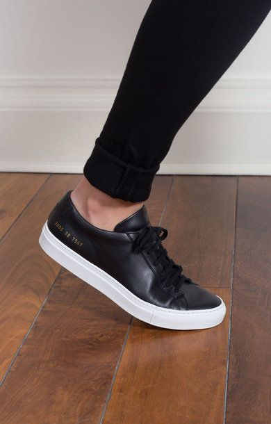 0e7c2ede6 Original Achilles Low Black White Sole | Common Projects in 2019 | Black leather  sneakers, Shoes, White sneakers