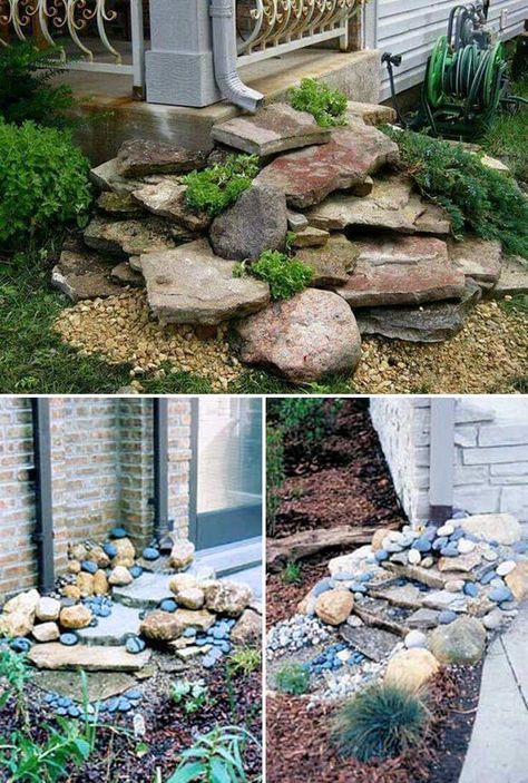 Stack Flat Rocks Under The Gutter Downspout For A Beautiful Dry Waterfall Landscape In 2020 Rock Garden Landscaping Backyard Landscaping Front Yard Landscaping