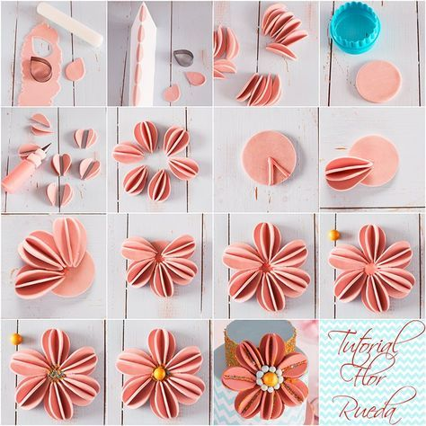 Tutorial Flor Fondant1 Fondant Flower Tutorial Sugar Flowers Tutorial Cake Decorating Flowers