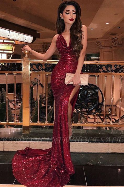 Sparkling Red Sequined Mermaid Prom Dress Sexy Deep V Neck High Split Glamorous Evening Dresses Long Party Gowns Semi Formal Dresses, Prom Dresses Long With Sleeves, Prom Dresses For Sale, Mermaid Prom Dresses, Prom Party Dresses, Elegant Dresses, Dress Prom, Sequin Prom Dresses, Occasion Dresses