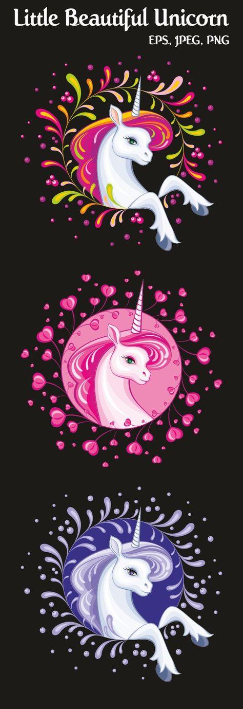 Little beautiful unicorn. Vector illustrations. (23576)   Illustrations   Design Bundles