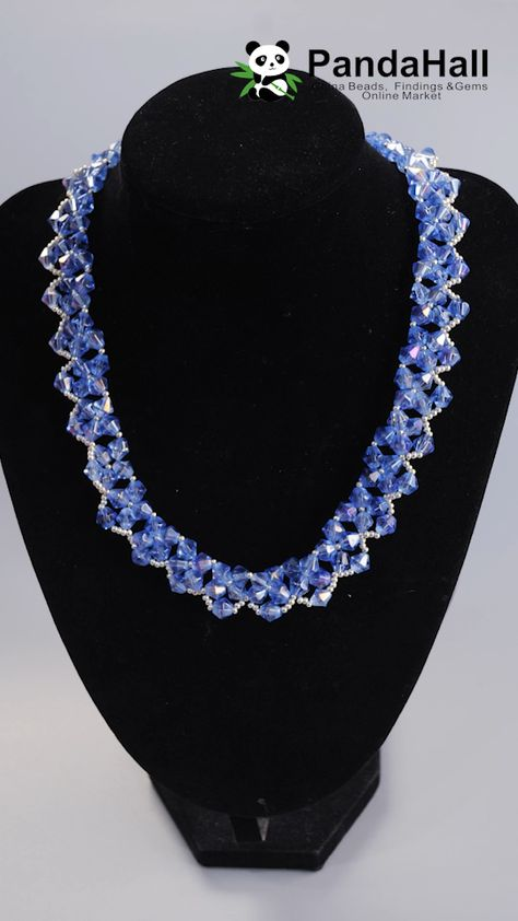 #PandaHall Blue Crystal Necklace