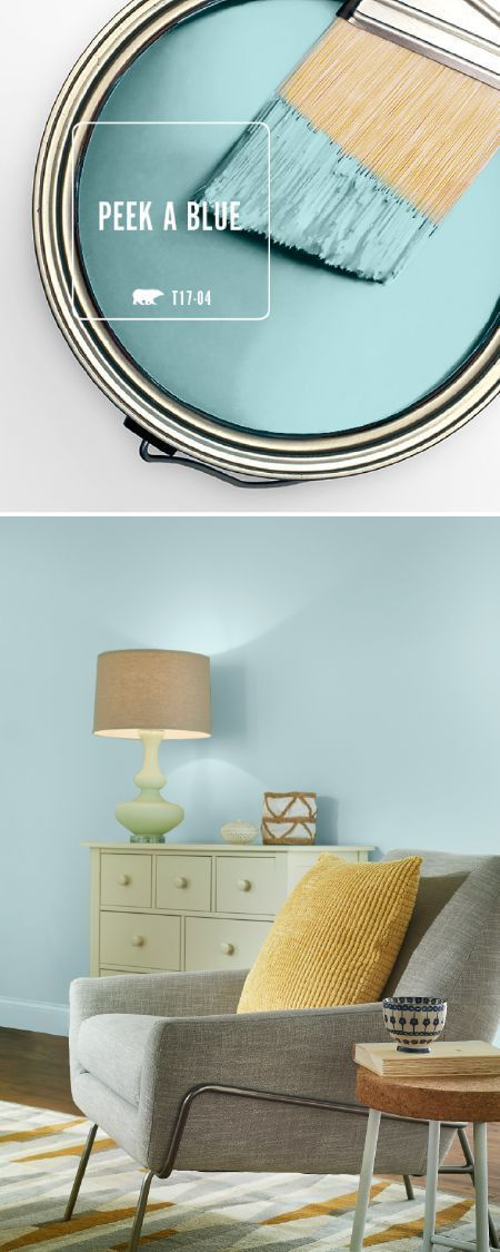 Give your home a colorful makeover with a fresh coat of BEHR's Color of the Month: Peek A Blue. This light blue hue is a playful pastel shade that contains moody undertones of gray. Pair with tan, white, and yellow accents to create a modern color palette Modern Color Palette, Modern Colors, Blue Bedroom, Trendy Bedroom, Bedroom Modern, Modern Wall, Bedroom Neutral, Paint Colors For Home, House Colors