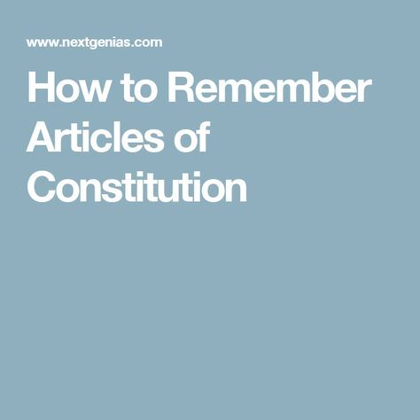 How to Remember Articles of Constitution | smitha | Indian
