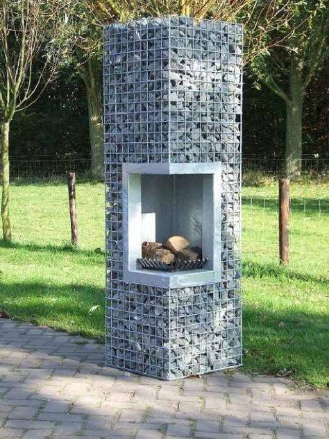 Gabioneneckkamin als Feuerstelle