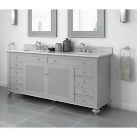 Jacuzzi Barrea 72 In Grey Double Sink Bathroom Vanity With White