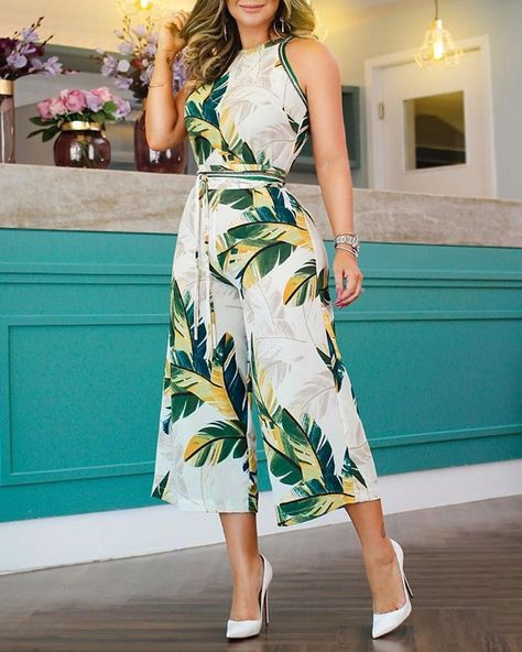 Tropical Print Wide Leg Jumpsuit #fashion #style #love #photography #mdel #instagood #photooftheday #art #beauty #ootd #beautiful #fashionblogger