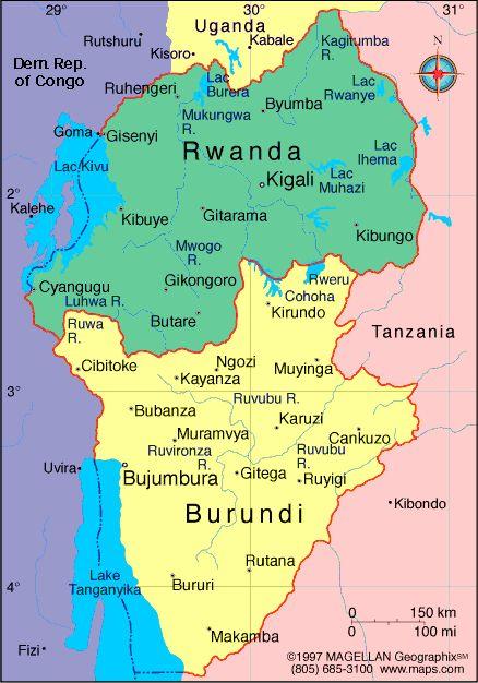 Map Of Burundi Capital Bujumbura Languages Kirundi And French - Where is burundi on a world map