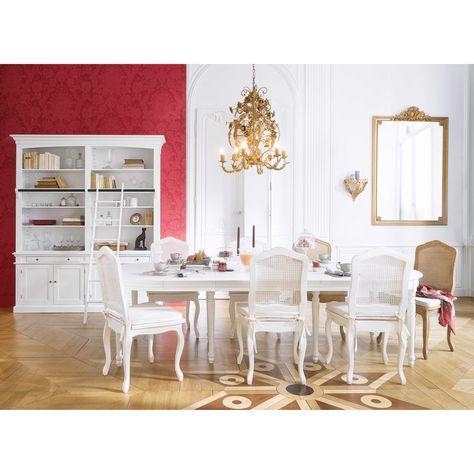 Ausziehbarer runder Esstisch 4 bis 14 Personen aus weißem