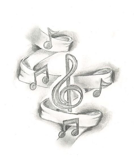 Might add ribbon and music notes as a background to my current music tattoo. Music Drawings, Pencil Art Drawings, Art Drawings Sketches, Tattoo Drawings, Cool Drawings, Drawing Music Notes, Music Sketch, Music Tattoo Designs, Music Tattoos