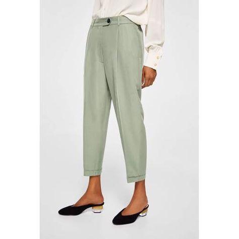 Wonderlijk Mango cropped broek met hoge taille lichtgroen - Broek vrouwen CS-58
