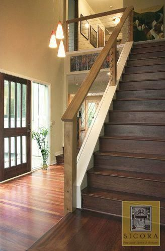 Wood And Cable Railing Nice And Clean Not Too Modern That It Is Out Of Place But Not The Horrible Traditional Stair Rail House Stairs Home Banister Remodel