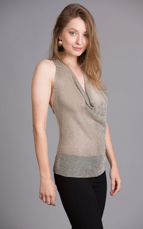 HALTER SHEER METALLIC TOP, ring in the new year with this gorgeous top!