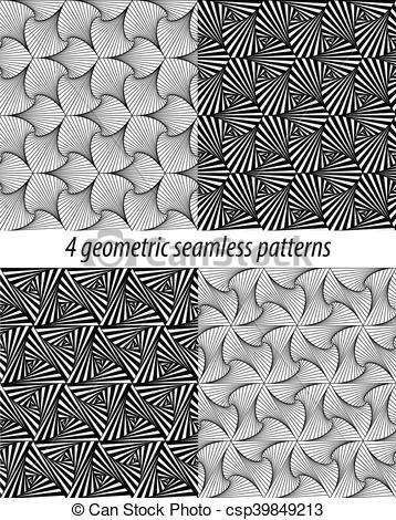 4 Paradox Zentangle Patterns Vector Stock Illustration Royalty