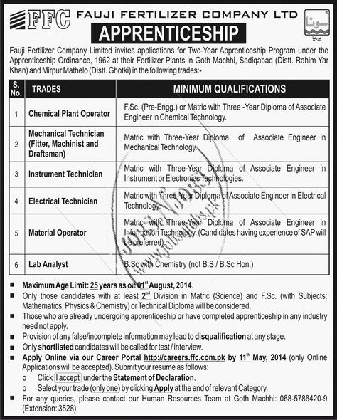 Fauji Fertilizer Company Ltd, FFC Apprenticeship Jobs N Jobs - gcp auditor sample resume