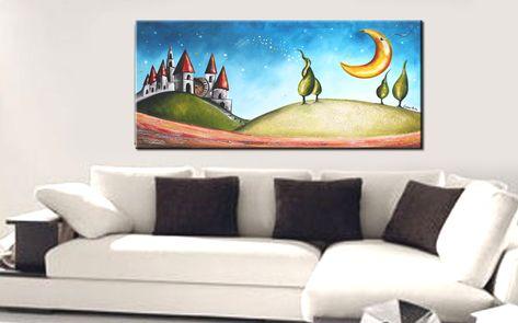 Quadri moderni Paesaggi stilizzati dipinto a mano su tela materica ...