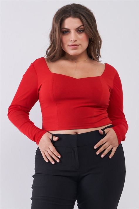 Plus Size Crimson Red Long Mesh Sleeve Sweetheart Neck Detail Structured Crop Top - 1XL