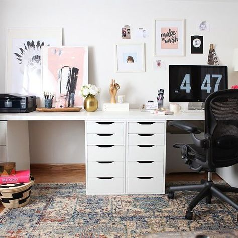Ikea Hacked Faux Built Ins Double Desk. Love The Sun Filled U0026 Fresh Nordic  Style Office! | Apartment Things And Ideas | Pinterest | Double Desk, ...