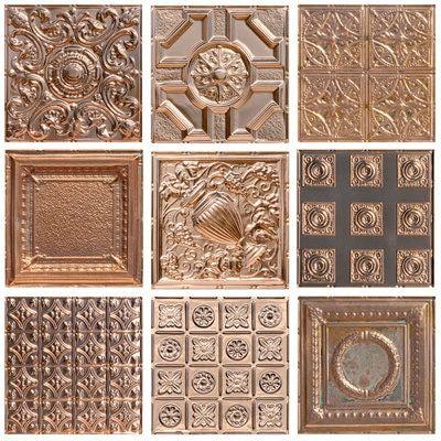 Metal Sample Pack Of 4 Copper Finishes Copper Kitchen Backsplash Stamped Ceiling Tiles Copper Finish