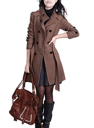 YOUJIA Femme Trench Manteaux Longue Parkas Revers Double Boutonnage Veste dhiver avec Ceinture