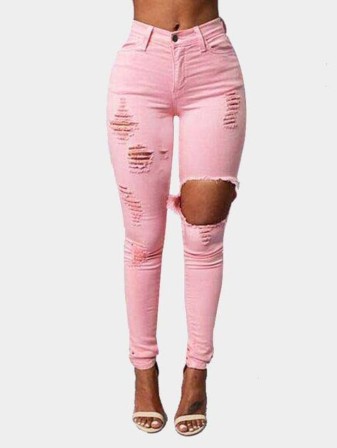 Ripped High Rise Skinny Jean in Pink US$24.99 YOINS