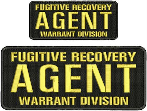 Fugitive Recovery Agent Warrant Division embroidery patches 4x10 and 2.5x6 hook