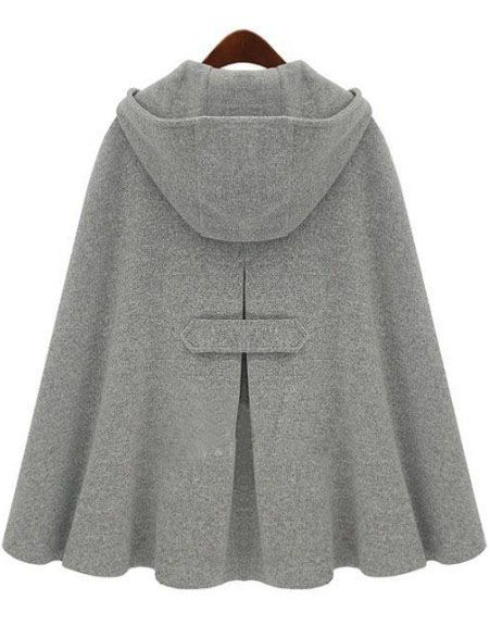 Grey Hoodie Two PU Buckle Woolen Poncho Coat - I do like the front but the back is just adorable. Also, this is what we call a CAPE. I know we Americans don't seem to wear them much, but saying